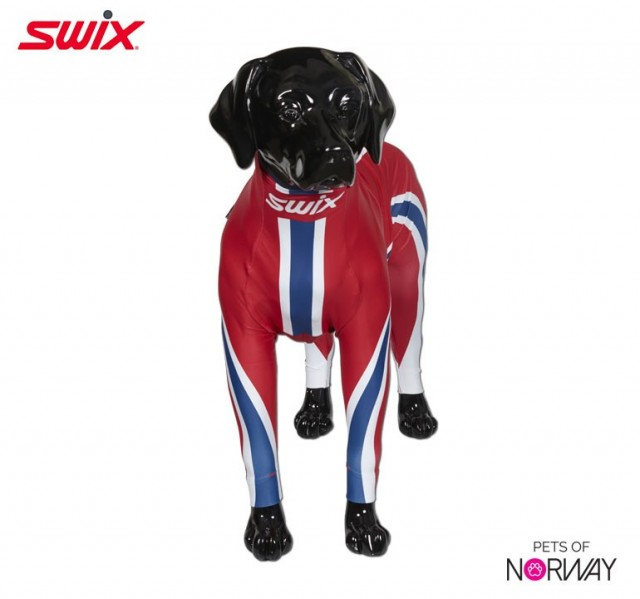 "Swix hunedress i lycra. Motiv ""Norge"". Selges kun hos Pets of Norway - If pets could choose"